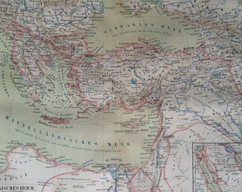 1878 Turkish Empire Large Original Antique Map - Available Mounted and Matted - Ottoman Empire - Turkey - Victorian Decor