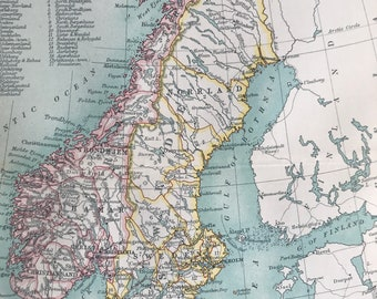 1912 Sweden, Norway and Denmark - Scandinavia Original Antique Map - Mounted and Matted - Available Framed