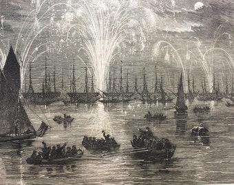 1856 The Grand Naval Review - Illumination of the Fleet Original Antique Engraved Newspaper Illustration, Victorian Decor, Ship, Navy