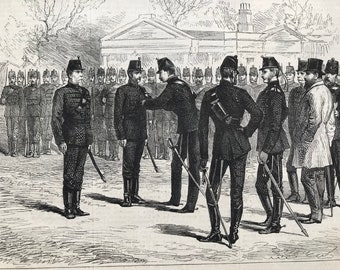 1877 Presentation of Medals to Sergeant Instructors of the 49th Middlesex Rifle Volunteers Original Antique Matted Print - Military Decor