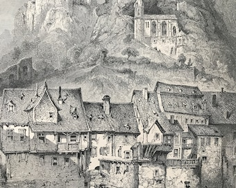 1876 Oberstein Original Antique Wood Engraving - Mounted and Matted - Idar-Oberstein - Germany - Landscape - Available Framed