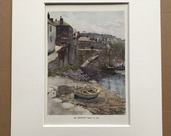 1925 At Newlyn Original Antique Print - Cornwall - England - Mounted and Matted - Available Framed