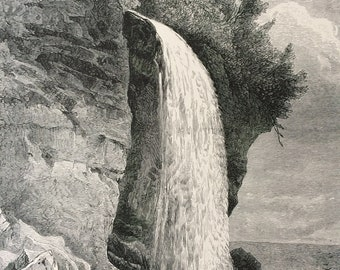 1895 Silver Cascade, New Hampshire? Original Antique Wood Engraving - Mounted and Matted - Waterfall - Decorative Art - Available Framed