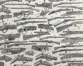 1897 Firearms Original Antique Print - Military Decor - Gun - Weapon - Mounted and Matted - Available Framed