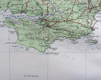 1922 original antique ordnance survey map of Wales, Glamorgan, Glamorganshire, South Wales, Bristol Channel, wall decor, home decor