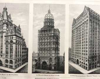 1898 High Buildings Original Antique Lithograph - Mounted and Matted - Milwaukee, New York, Chicago - Vintage Wall Decor