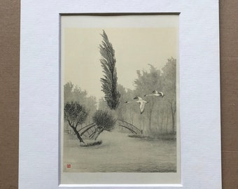 1948 Oxford - Swans chasing the wind over Rainbow Bridge Original Vintage Chiang Yee Illustration - Mounted and matted - Available Framed