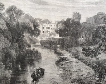 1858 Warwick Castle from the bridge across the Avon Original Antique Engraving - Warwickshire - Architecture, Landscape, Royalty