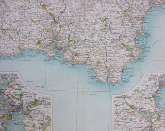 1898 Plymouth Large Original Antique Ordnance Survey Map - City Plan - England - Britain - Cartography - Gift Idea - Local History