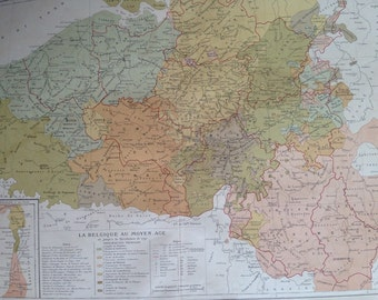 1903 BELGIUM in the Middle Ages Antique Map - French Language Map - Geography - Cartography - Historical Map