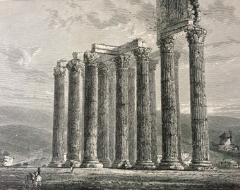 1876 Ruins of the Temple of Jupiter, Olympius Original Antique Wood Engraving - Greece - Mounted and Matted - Available Framed