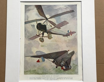 1927 New forms of Aircraft Original Vintage Print - Aircraft - Airplane - Mounted and Matted - Available Framed