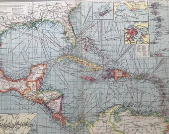 1903 The West Indies & Central America: Industries and Communications Large Original Antique Map, 15.5 x 20.5 inches, Harmsworth map
