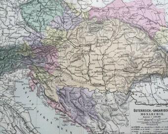 1880 AUSTRO-HUNGARIAN MONARCHY original antique map, cartography, geography, wall decor, home decor Austria Hungary