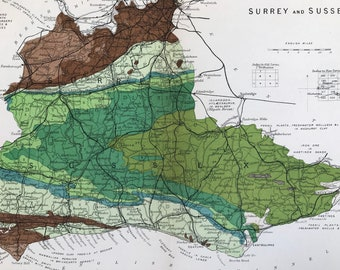 1913 Surrey and Sussex Original Antique Small Geological Map - UK County Map - Geology - Available Framed