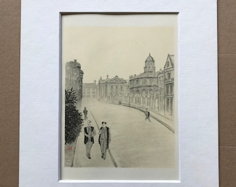 1948 Oxford - Two Undergraduates in Broad Street Original Vintage Chiang Yee Illustration - Mounted and matted - Available Framed