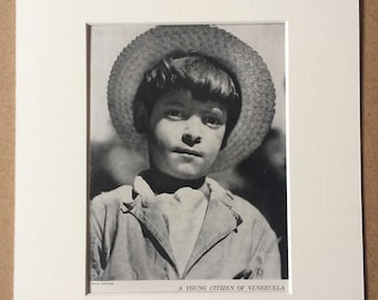 1940s Venezuelan Boy Original Vintage Print - Mounted and Matted - Portrait Photography - Child - Children - Available Framed