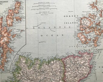1903 Northern Scotland with the Orkneys Original Antique Map with inset map of the Shetland Islands - Shetland Isles - Orkney Islands