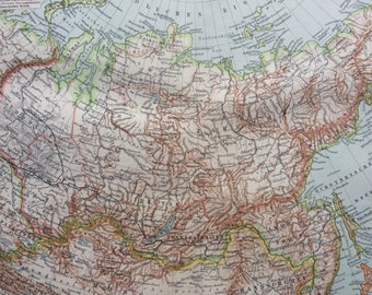 1897 Siberia Original Antique Map - Available Mounted and Matted - Russia - Vintage Map