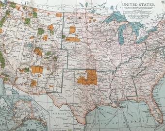 1903 United States Original Large Antique Map showing US Parks and Forest Reserves and Indian Reservations - USA Wall Map - 11 x 16 Inches