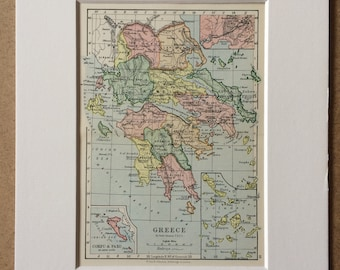 1895 Greece Original Antique World Map - Mounted and Matted - 8 x 10 inches - Framed Map - Gift Idea - Framed Vintage Art