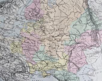 1880 Russia original antique map, cartography, geography, wall decor, home decor - Russian Empire - Lithuania Latvia Belarus Estonia