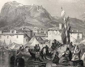 1871 Corinth - Port of Kenkries Original Antique Steel Engraving - Greece - Fine Art - Mounted and Matted - Available Framed