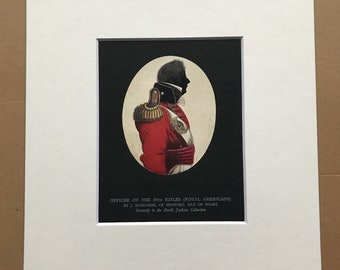 1938 Officer of the 60th Rifles (Royal Americans) Original Antique Print - Silhouette - Mounted and Matted - Available Framed
