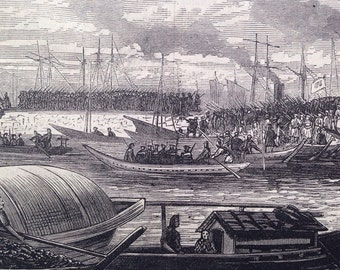1877 The Civil War in Japan Original Antique Engraving, Yokohama, Military, Navy, Militaria, Satsuma, Troops, Historical, Nippon, Japan