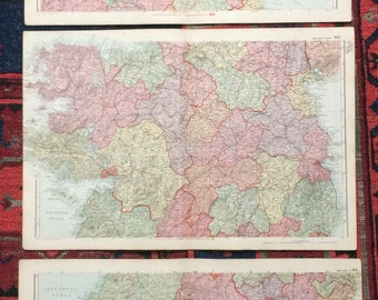 1896 Ireland Set of 3 Large Original Antique Maps with inset maps of Cork, Dublin and Belfast - Showing Railways and Parliamentary Divisions