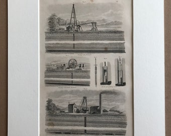 1858 Mining - Mine Diagram Original Antique Engraving - Boring with the Lever - Coal Mine Section - Victorian Technology - Available Framed
