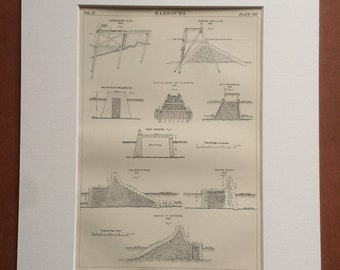 1875 Harbours Original Antique Matted Engraving - Londonderry, Leith, Breakwater, Dunkirk, Port, Pier, Quay - Matted & Available Framed