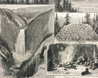1883 Sketches in the Yellowstone Park of North America Original Antique Engraving - Victorian Decor - Yellowstone National Park - Wyoming