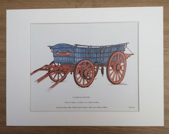 1978 Cambridgeshire Farm Waggon Large Original Vintage Print - Mounted and Matted - Agriculture - Gift for Farmer - Vintage Wall Decor