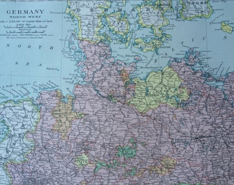 1920 Germany (North-West) Original Vintage Map, 12 x 14.5 inches, historical wall decor, Stanford Atlas, Home Decor, Cartography, Geography