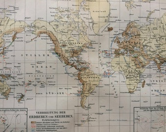 1895 Distribution of Earthquakes and Seaquakes Original Antique World Map - Seismology - Available Mounted and Matted - Vintage Map