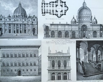 1897 Italian Renaissance Architecture Large Original Antique Lithograph - Available Mounted and Matted - Gift for Architect - Vintage Decor