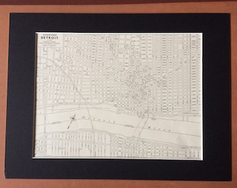 1937 DOWNTOWN DETROIT Original Vintage City Plan Map, 11 x 14 inches, Rand McNally, Michigan - Available Mounted and Matted