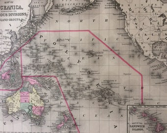1888 OCEANICA large rare original antique Mitchell Map exhibiting various divisions and Island groups - Inset map of the Sandwich Islands
