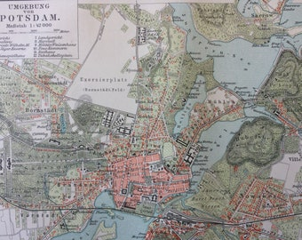 1896 Potsdam and surrounding area Small Original Antique Map - Germany - Cartography - Vintage Map - Wall Decor