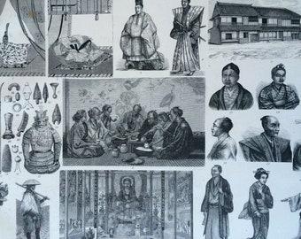 1870 Japanese People and Culture Large Original Antique Engraved Illustration - Japan - Mikado - Ethnography - Anthropology