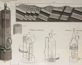 1819 Original Antique Engraving - Geological Section and Safety Lamps - Davy Lamp - Available Mounted and Matted - Geology - Framed
