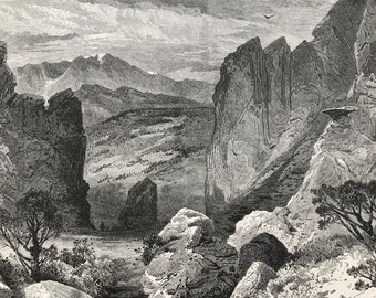 1874 Pike's Peak, from the Garden of the Gods, Colorado Original Antique Engraving - Mounted and Matted - Landscape - Available Framed
