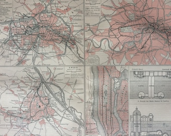 1897 City Train Systems Original Antique Map - Available Mounted and Matted - Underground Railway - Berlin, London, NYC, Vienna