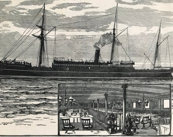 1883 The Union Steam-Ship Company's Royal Mail-Steamer Tartar Original Antique Print - Mounted and Matted - Available Framed