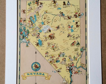 1935 Nevada Original Vintage Cartoon Map - Ruth Taylor - Available Mounted and Matted - Whimsical Map - United States