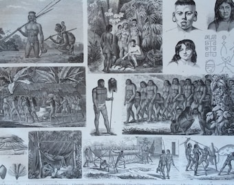 1870 Brazilian Native Tribes Art and Culture Large Original Antique Engraved Illustration - Ethnography - Anthropology - Brazil