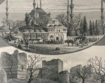 1876 Views in Constantinople Original Antique Wood Engraving - Mosque - Tower - Architecture - Mounted and Matted - Available Framed