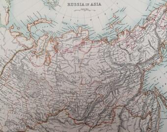 1898 Russia in Asia Large Original Antique A & C Black Map - Siberia - Central Asia - Victorian Wall Decor - Gift Idea