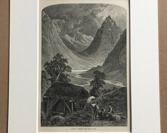 1876 View from Moldestadt Original Antique Wood Engraving - Mounted and Matted - Norway - Available Framed